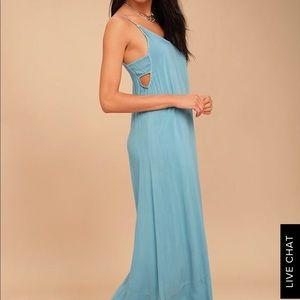 Lulu's Project Social T Blue Maxi Dress NWT